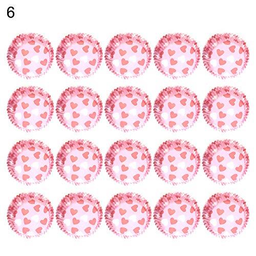 cA0boluoC Cupcake-Wrapper, Herz-Punkt-Hase, Backen, Muffins, Papier-Förmchen, Geburtstagsparty-Dekoration, 100-9#, mehrfarbig, 6# (Folie Herz-backförmchen)