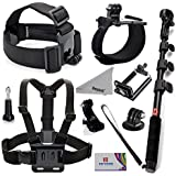 Deyard ZG-634 GoPro Accessories Kit Premium Set for GoPro Hero Session Hero 4 Silver Black Hero 3+ 3 2 SJ4000 SJ5000+: Head Strap Mount +Chest Harness with J-hook Mount +Wrist Mount +Extendable Handheld Monopod with Tripod Mount +Flexible Phone Clamp +Thumbscrew +Deyard Fiber Cloth