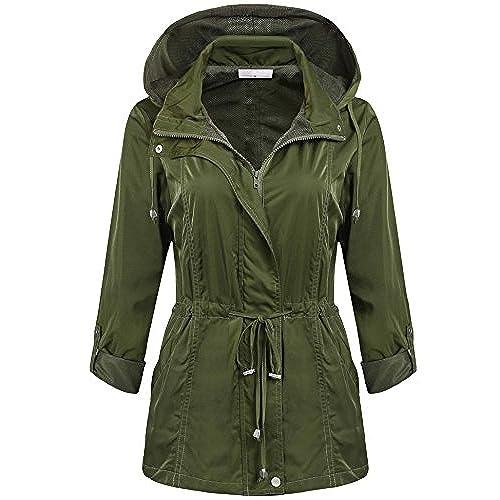 FastDirect Ladies Waterproof Lightweight Rain Jacket Anorak with Detachable  Hood Army Green M