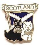 Schottland Andreaskreuz & zwei Terrier Hunde Emaille revers Anstecker