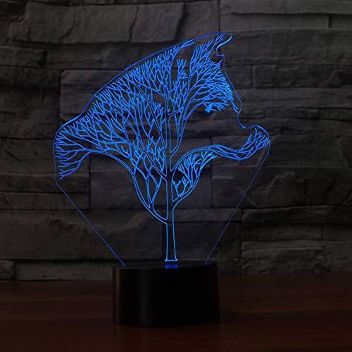 YRANPEA 3D Twig Wolf Form Persönlichkeit Multi-Colored Night Light Farbwechsel Led-Lampe -