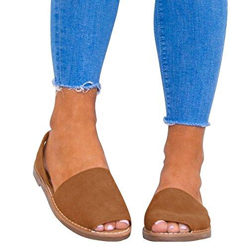 Anokar sandali donna eleganti spiaggia casuale infradito shoes estivi tacco basso peep toe ciabatte mare flat bocca di pesce cinturino alla caviglia scarpe espadrillas nero 34-44 br36