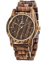 Reloj de madera para hombres, MUJUZE hecho a mano de los hombres tamaño respetuoso del medio ambiente movimiento de cuarzo japonés comercial relojes de madera en caja de regalo(zebra)