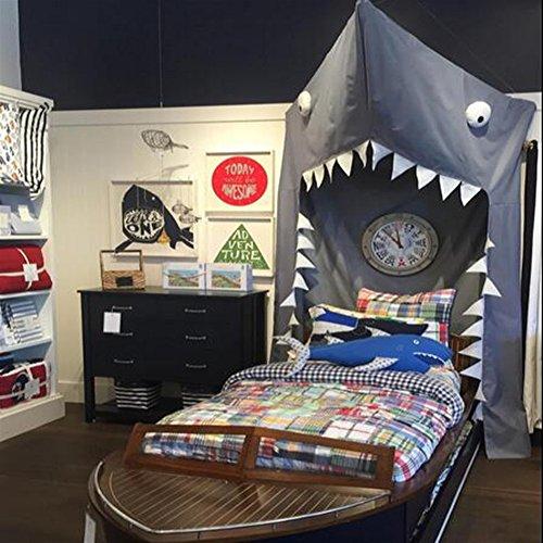 Ommda Moskitonetz Bett Kinder und Baby Betthimmel Moskitonetz Baumwolle Süß und Romantisch für Kinderzimmer und Schlafzimmer Hai 280x140cm (HöhexBreite)