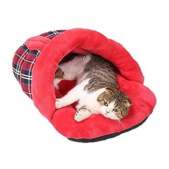 Lovely lapin modèles Cat Sac de couchage Kitten Maison Yurts Cat Mat Teddy Dog House (red)