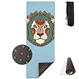 Roue Yoga Mat Non Slip Lion Art Pattern Printed 24 X 71 Inches Premium for Fitness Exercise Pilates with Carrying Strap