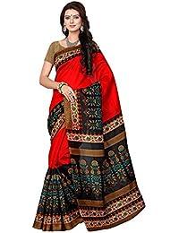 Indian Fashionista women's Bhagalpuri Cotton Saree with Blouse Piece (STM7035_Orange)