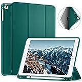 Ztotop Hülle für iPad 9.7 Zoll 2018,Ultradünne Soft TPU Rückseite Abdeckung Schutzhülle mit eingebautem Pencil Halter, Automatischem Schlaf/Aufwach, für iPad 9.7 Dunkelgrün