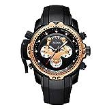 Herren Schwarz Uhren Männer Chronograph Wasserdichte Militär Sportuhr großes Gesicht leuchtende Datum multifunktionale Uhren einzigartiges Design Draussen Mode Klassisch Analog Quarzuhren für Männer G