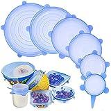 PHYLES Tapas de Silicona EláSticas, 6 Paquetes De Varios Cubierta de Ahorro de Alimentos, Reutilizable Fundas Protectoras para Conservación De Alimentos, Lavavajillas, Boles o Tarros(Azul)