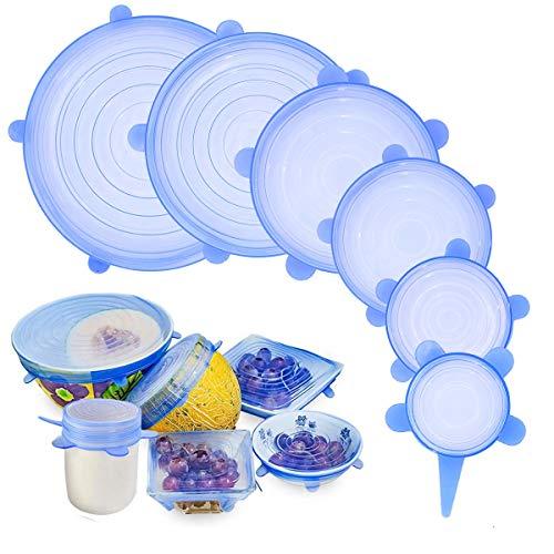 Phyles coperchi in silicone stretch, 6 pezzi di diverse dimensioni coperchio in silicone per alimenti, riutilizzabile ed espandibile coperchi silicone per ciotole, piatti, barattoli, tazze (blu)