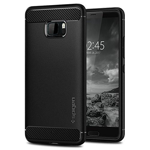 HTC U Ultra Hülle, Spigen® [Rugged Armor] Karbon Look [Schwarz] Elastisch Stylisch Soft Flex TPU Silikon Handyhülle Schutz vor Stürzen und Stößen Schutzhülle für HTC U Ultra Case Cover Black (H10CS21367)