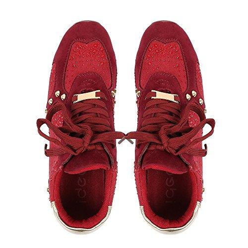 Ideal Shoes - Baskets incrustées de strass et de clous Eglantine Rouge