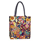 Best Tote Purse - Sangra Fashion Canvas Tote Bag for Women (Multi-Color) Review