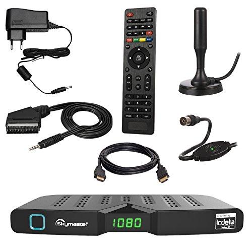 HB DIGITAL DVB-T/T2 SET: Skymaster DTR5000 DVB-T/T2 Receiver, kartenloses Irdeto-Zugangssystem für freenet TV + Xoro HAN 100 DVB-T/T2, FM, DAB Aktive Antenne (Full HD, HEVC/H.265, HDTV, HDMI, Ethernet, USB 2.0 DVBT DVBT2 DVB-T2)