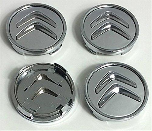 Lot de 4 cache-moyeux en aluminium - 60 mm - Pour Citroën - Logo gris et chromé