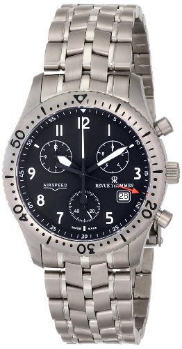 Revue Thommen Men's 16001-9197 Airspeed Chronograph Quartz Black Dial Watch