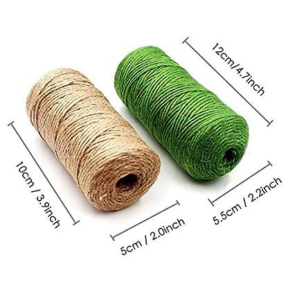LIVEHITOP 200m Natural Cuerda de Yute, Verde Cordel de Cáñamo con 20 Clips para Jardinería Fotos Floristería Regalos Manualidades Decoración (2x100m)