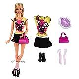 Miunana 1x Ropa Fahion = 1 Camiseta + 1 Falda + 1 Bolso + 1 Sombrero + 1 Medias + 1 Zapatos Accesorios como Regalo Vestir Casual para Muñeca Barbie Doll