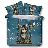 Sticker superb Mädchen Junge Kleinkind Bettwäsche Set mit Kissenbezug, Baumwolle Liebenswerte Katze Bettbezug Set (Katze 1, 135_x_200_cm)
