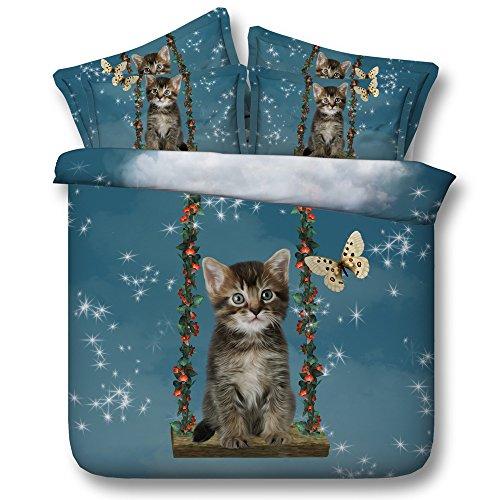 Sticker superb Invierno Otoño Calentar Algodón Juego de Ropa de Cama 150, Encantador Gato Niña Niño Niñito Juegos de Fundas para Edredón con Funda de Almohada (Gato 1)