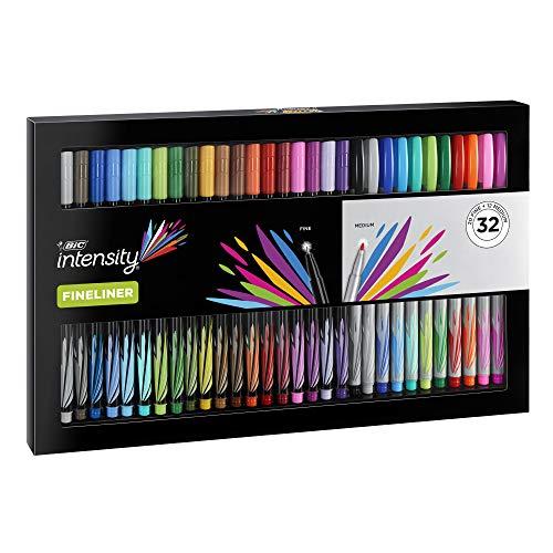 BIC Intensity Fineliner in praktischer Box - Farbenfrohe Faserschreiber mit feiner & mittelgroßer Spitze - 32er Stifte Set