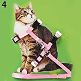 KaariFirefly Verstellbare Nylon Leine für Katzen Welpen Haustiere, Halsband mit Ruder-Seil rose