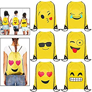 513AvClLQ5L. SS300  - Emoji Bolsas de Cuerdas - 6 x MOOKLIN Emoji Mochilas Petates Infantiles para niños y niñas Cumpleaños Regalos invitados de Bodas Comuniones