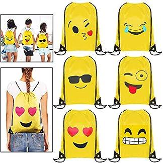 Emoji Bolsas de Cuerdas – 6 x MOOKLIN Emoji Mochilas Petates Infantiles para niños y niñas Cumpleaños Regalos invitados de Bodas Comuniones