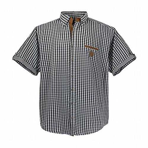LAVECCHIA Men Shirt Freizeithemd kurzarm XXXL bis 7XL Schwarz Weiß Kariert Übergrößen Oberhemd Karo Hemd modern mit Button down Kragen (6XL) (Kurzarm-hemd Weißes Kragen Mit)