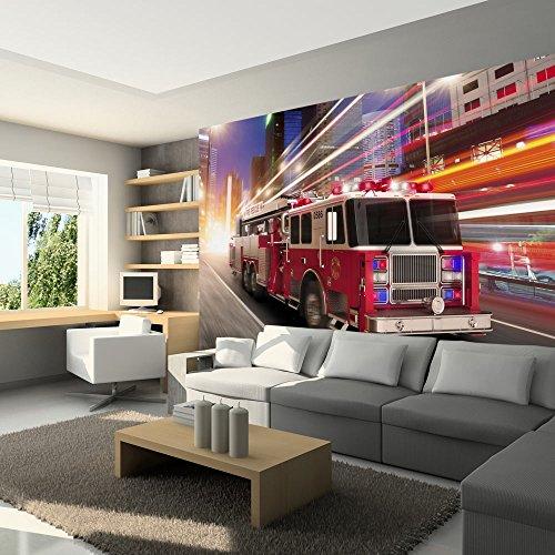 murando - Fototapete 300x210 cm - Vlies Tapete - Moderne Wanddeko - Design Tapete - Wandtapete - Wand Dekoration - Feuerwehrauto Auto Motorisation i-A-0016-a-a