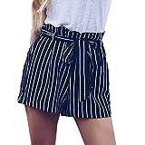 UFACE Damen Shorts aus Leinen | lässige Kurze Hose | gestreifte Bermuda | Pants - Hotpants 6820