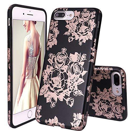 DOUJIAZ iPhone 7 Plus Hülle,iPhone 8 Plus Hülle, Marmor Soft Silikon Schutz Handy Hülle Handytasche HandyHülle Case Cover Schutzhülle für iPhone 7 Plus/8 Plus-Rose Gold Rose & Schwarz