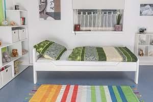 """Lit simple """"Easy Sleep"""" K1/2n, en hêtre massif peint en blanc - Dimensions: 90 x 190 cm"""