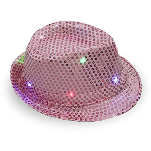CHuangQi LED-Fedora-Hut, Leuchtend, leuchtende Pailletten, Jazz-Cap, Unisex, Erwachsene, Party, ()