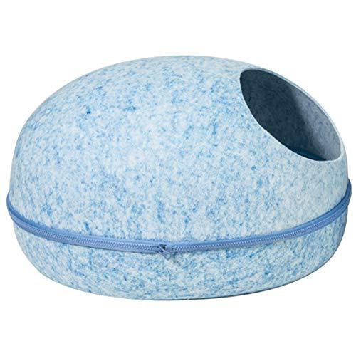 Cleave waves premium feltro gatto cave bett/eco friendly 100% /per gatti e gattini/caldo e accogliente letto gatto realizzato a mano rimovibile lavabile traspirante, blu, large