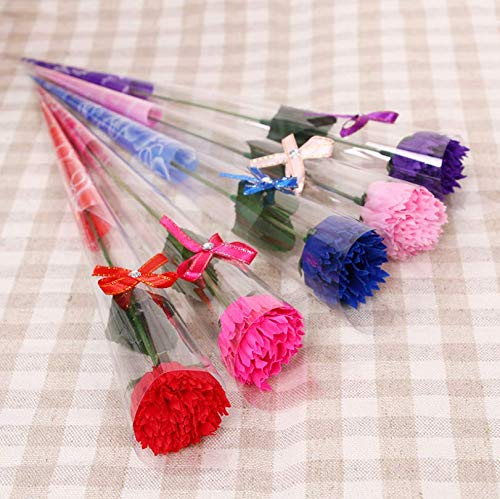 Fiori di sapone, fiori artificiali, fiori finti, garofani, regali per la festa della mamma, metti la decorazione femminile per le feste 11 pezzi rossi
