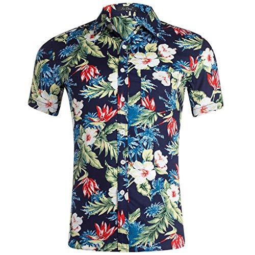 UJUNAOR Camicia Hawaiana Uomo Slim Fit in Cotone Manica Corta Elegante Stampato Floreale Risvolto Button-Down S/M/L/XL/XXL(XX-Large,C-Nero)
