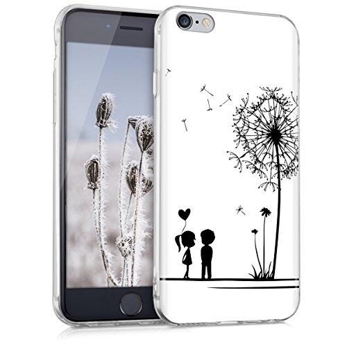 kwmobile Étui en TPU silicone élégant pour Apple iPhone 6 / 6S en bleu clair mat pissenlit amour IMD noir blanc