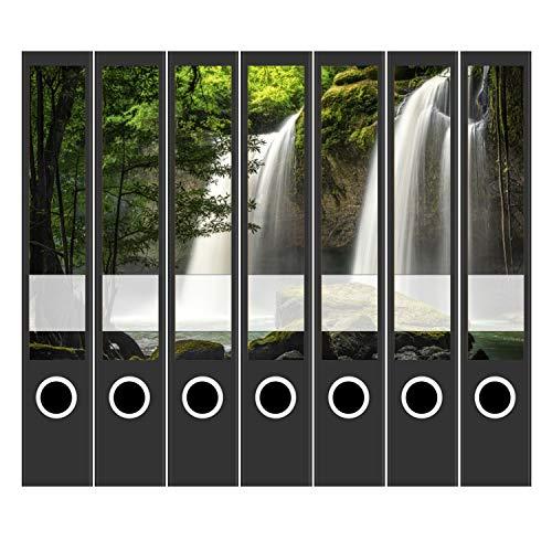 7 x Akten-Ordner Etiketten/Design Aufkleber/Rücken Sticker/Wasserfall, mystisch/für schmale Ordner/Ordnerrücken selbstklebend / 3,7 cm schmal, dünn