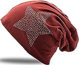 Strass Stern Steine Jersey Baumwolle elastisches Long Slouch Beanie Unisex Herren Damen Mütze Heather in 35 verschiedenen Farben (2)