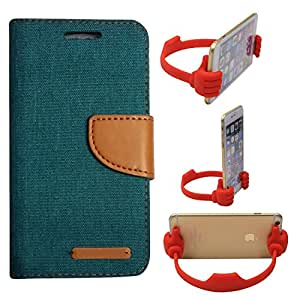 Aart Fancy Wallet Dairy Jeans Flip Case Cover for OnePlusOnePlus2 (Green) + Flexible Portable Mount Cradle Thumb OK Designed Stand Holder By Aart Store.