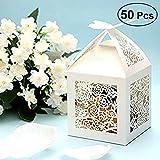 ULTNICE 50 Stück Geschenkbox,Rose Muster Pralinenschachtel Gästebox mit Band für Hochzeit/Geburtstag/Engagement,Weiß