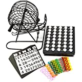 Traditionnel Bingo Fil De Boule Cage Roue Loto Ensemble De Jeux Et Carte Marqueur Ticket Set