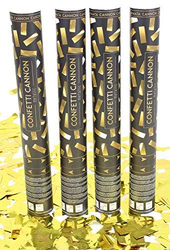Unbekannt Konfetti Kanone Shooter Set Jubiläum Hochzeit Party Popper Gold 4X Goldenes Streifen Konfetti