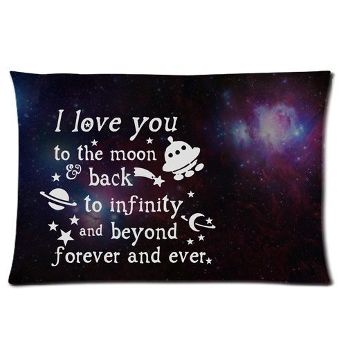I Love You to the Moon and Back Custom Personalized Rectangle Pillowcase 24x16 (one side)