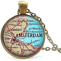 Amsterdam Vintage Landkarte Halskette