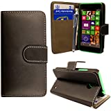 For Nokia Lumia 635 Simple Plain Black Book Type PU Leather Magnetic Flip Case Cover Pouch+STYLUS BY CONTINENTAL27