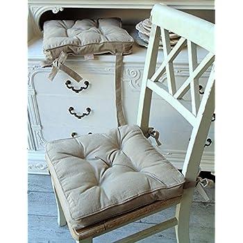 sitzkissen stuhlkissen landhaus mit befestigungsband aus baumwolle leinen k che. Black Bedroom Furniture Sets. Home Design Ideas