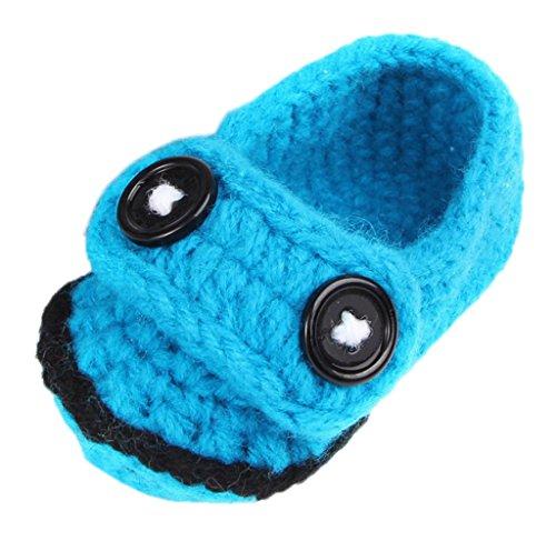 Bigood 1 Paar Strickschuh One Size Strick Schuh Baby Unisex süße Muster 11cm Knopf Deko Blau C Blau C
